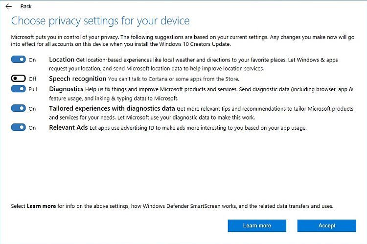 Creators Update Privacy Choices
