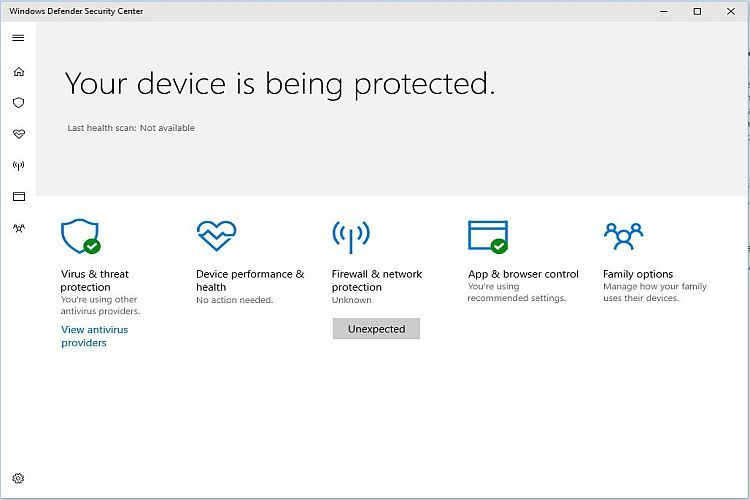 Creators Update Security Dashboard Display