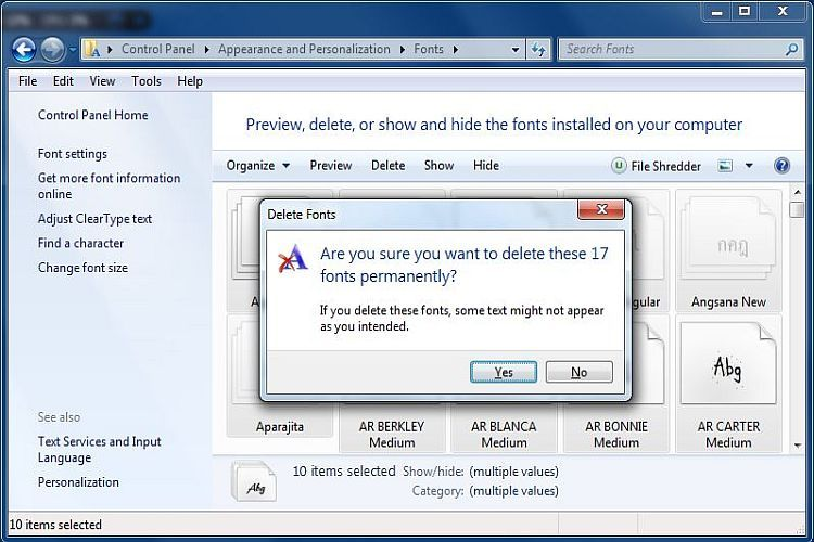 Deleting Fonts From Windows Can Speed Up Your System