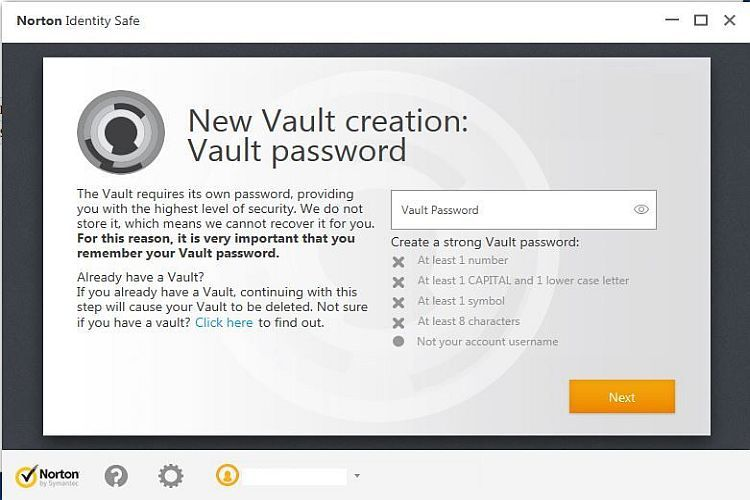 Norton Password Vault