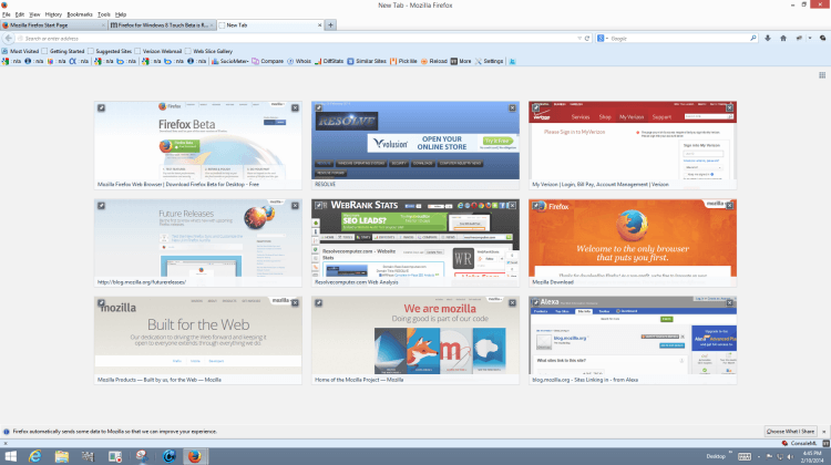 Firefox for Windows 8 Touch and Aurora Beta