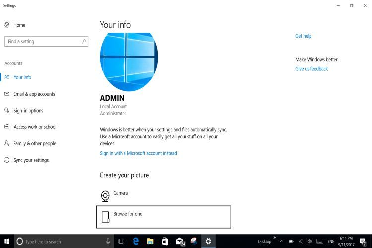 WINDOWS 10 Local Account Admin