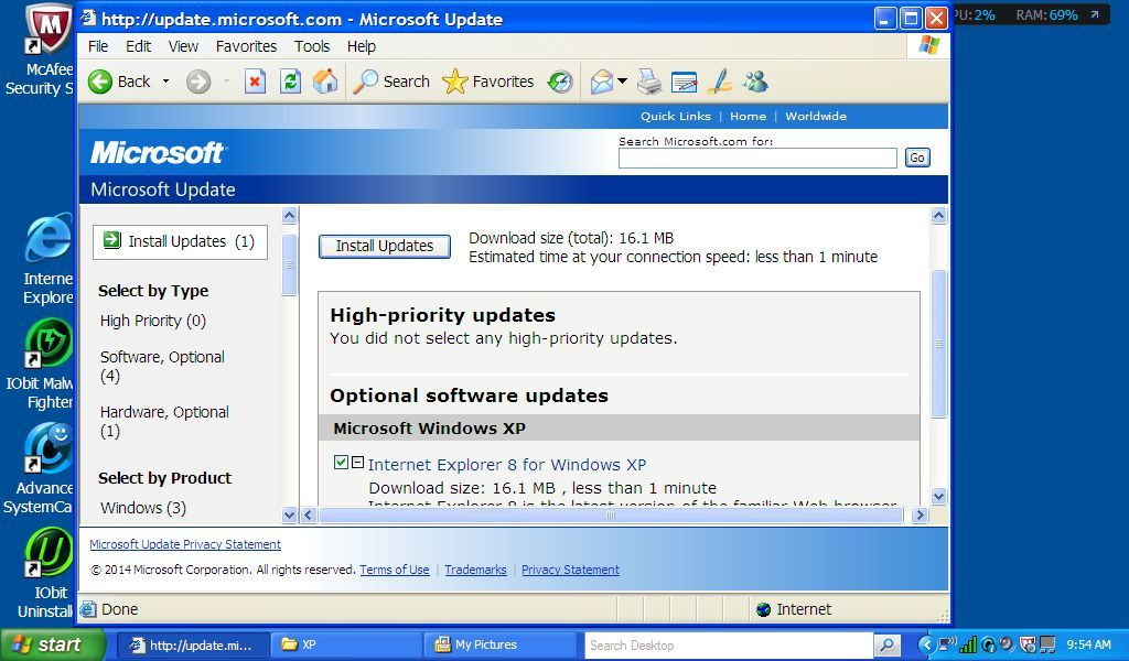 XP Update IE8