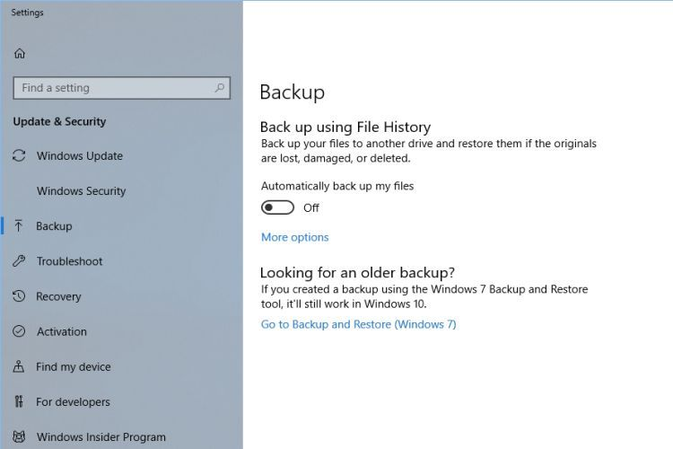 Windows 10 Backup Options